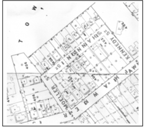 Part of Thomas Ward's 1891 survey map of Wellington showing town acres 403, 404, 405 and 406. Wellington City Archives.