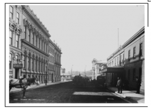 The Thompson, Shannon and Co warehouse in Panama Street. It's the grand building on the left with the wide frontage.  Wellington City Archives.