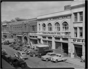 Premises of Townsend & Paul Ltd in Blair Street [Alexander Turnbull Library 1/2-211866-F] . From 1920 to 1944/45, James Paul of the firm Townsend & Paul lived at 105 Brougham Street, Mt Victoria.