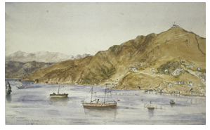 Mt Victoria from across harbour,  February 12, 1877  Watercolour.  Artist unknown Alexander Turnbull Library A-090-021