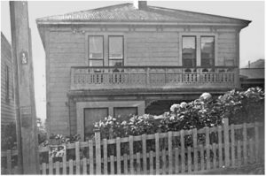 A photo of 21 Paterson St from the 1950s, supplied by former resident John Westbrooke.  The house has since been removed by NZTA.